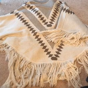 Aztec style sweater poncho